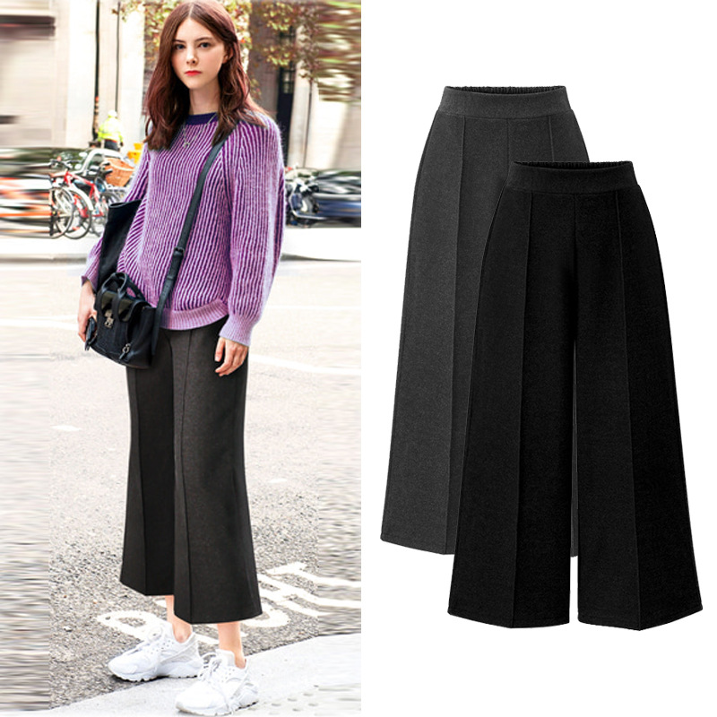 L-5XL Plus Size Casual Women Trousers 2019 Spring Autumn Fashion High Waist Wide Leg Pants Female Ankle-Length Pants Extra Large