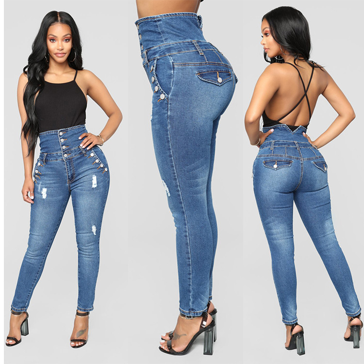 Women Sexy Bodycon Denim Jeans High Waist Button Skinny Jean Ladies Pencil Pants