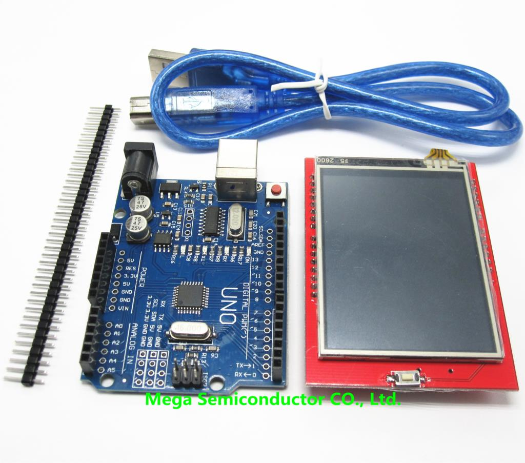 2.4 inch TFT LCD Touch Screen Display Module + Uno r3, CH340, Development Board Compatible + USB Cable