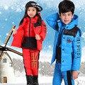 Nuevo Invierno de los niños niños y niñas abajo chaqueta establece abrigo con capucha + chaleco + pantalones de pato blanca acolchada cálida carta niños traje de invierno
