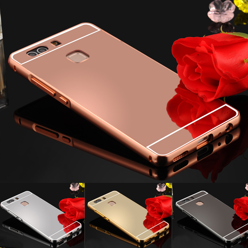 For Huawei P8 Lite P7 P8 Huawei P9 G7 plus G8 P9 lite Y6 Case Luxury Gold Plating Aluminum Metal Frame + Mirror Acrylic Cover
