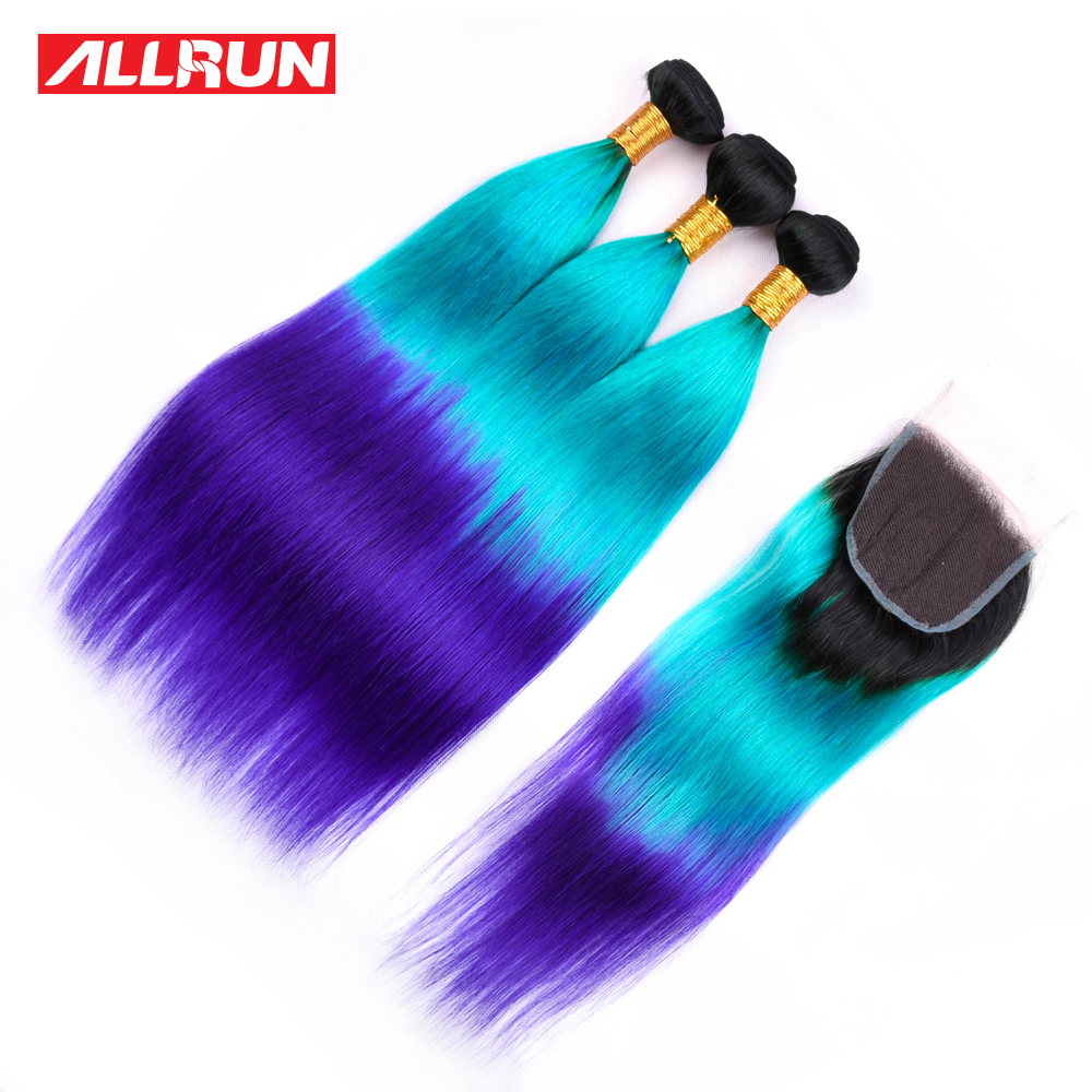 Allrun Pre-Colored Ombre Brazilian Hair 3 Bundles With Lace Closure T1B/Blue/Purple Color Straight Weave Remy Human Hair Bundle