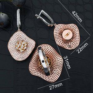 Image 5 - ModemAngel คุณภาพสูง Cubic Zirconia ใบต่างหูและแหวนสำหรับสุภาพสตรีเครื่องประดับเจ้าสาว