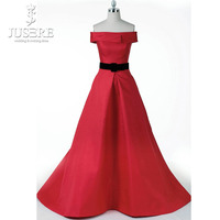 Silk Shiny Satin Decent Design Off Shoulder Box Pleat Zipper Up Floor Length Black Belt Red Plain A line Prom Dress 2018