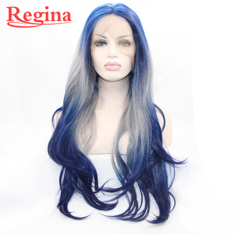 New Synthetic Lace Front Wig Grey To Baby Blue Ombre Wig