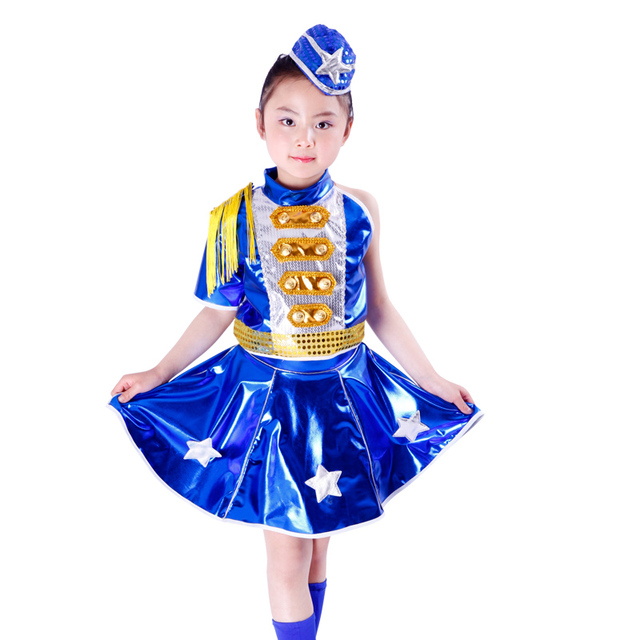 1b8924dbdc7ce US $178.0 |10pcs/lot Free Shipping Chorus Hip Hop Jazz Clothes for Children  Kids Girls Ballroom Dance Dress Costume Blue Army Navy Uniforms-in ...