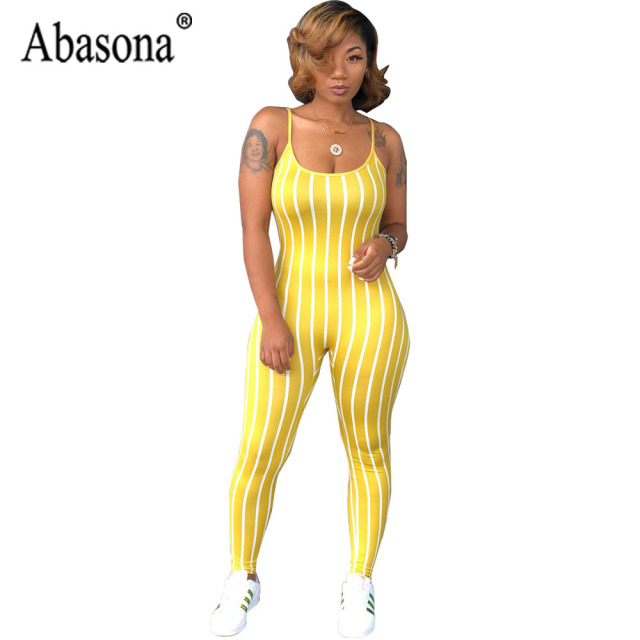 c5e674ae8b Abasona Sexy Club Striped Jumpsuit Women Long Backless Sleeveless Bodycon  Playsuit Summer O Neck Strap Jumpsuit Romper Women