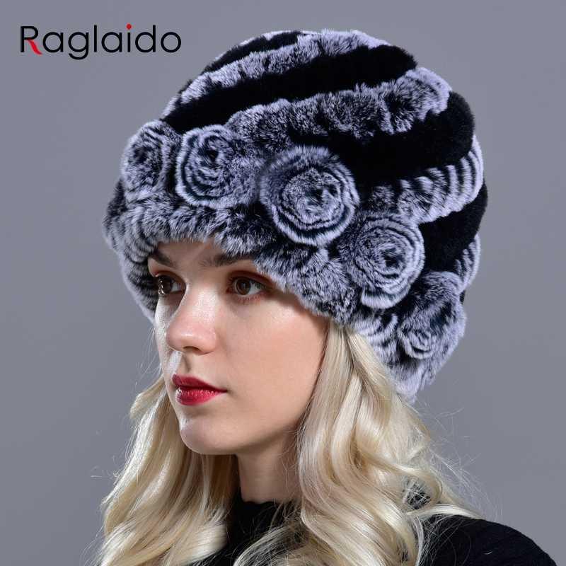 Raglaido 7 colores sombreros de piel de invierno para las mujeres Real Rex conejo Floral madam Beanie sombrero tejido a mano Piel de punto gorras LQ11174
