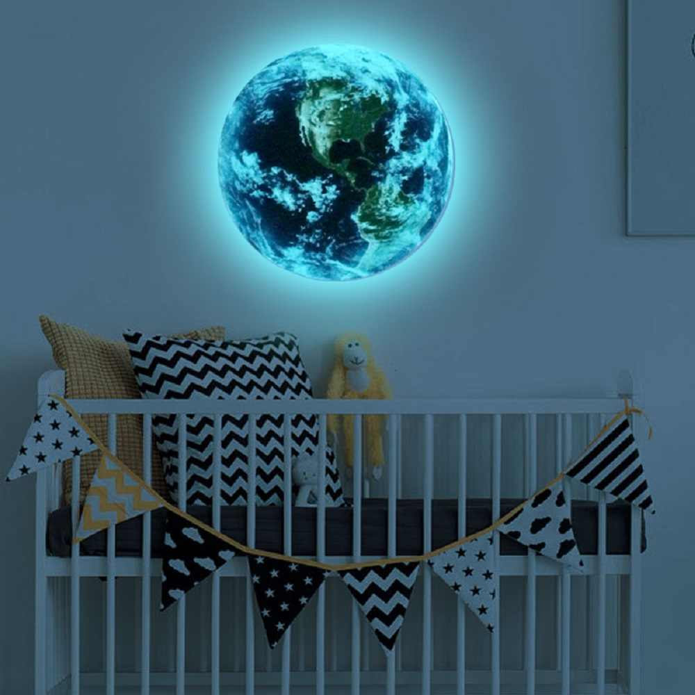 3D Planet Earth Glow in The Dark Wall Sticker Fluorescent Luminous Ceiling Stickers Wall Decals for Kids BedRoom Decor Gift