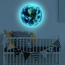 3D Planet Earth Glow in The Dark Wall Sticker Fluorescent Luminous Ceiling Stickers Decals for Kids BedRoom Decor Gift