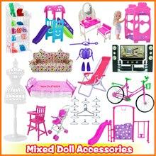 Mezcla de zapatos de accesorios de muñeca Rack bonito sofá Silla de playa cama Rosa Mini vestidos botas perchas 1:12 muebles para Barbie en miniatura
