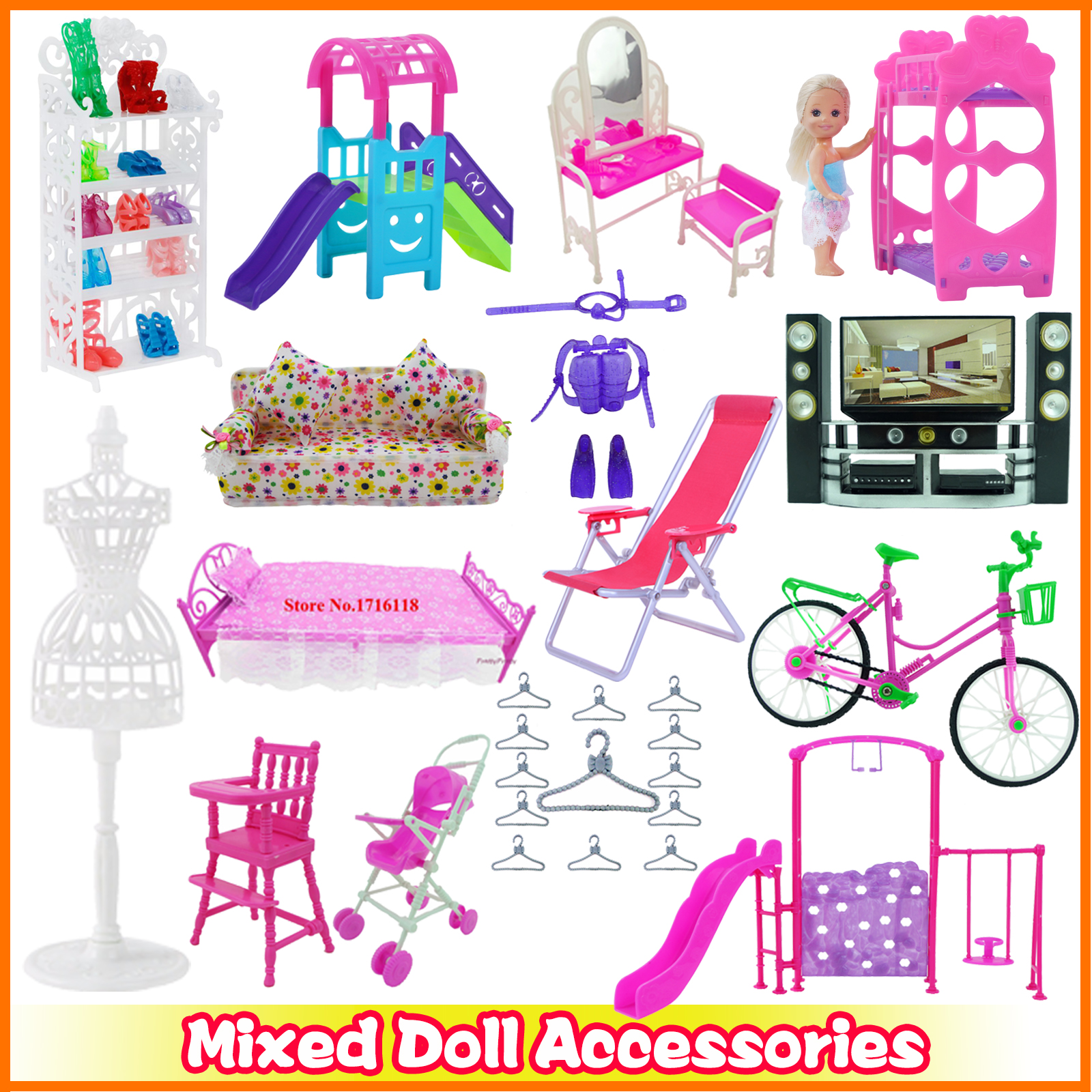 Mixed Doll Accessories Shoes Rack Cute Sofa Beach Chair Pink Bed Mini Dresses Boots Hangers 1:12 Miniature Furniture for Barbie