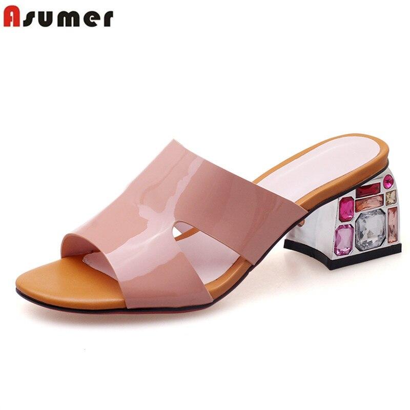 ASUMER 2019 ขายร้อนฤดูร้อนใหม่รองเท้าผู้หญิงส้นสูงส้นคริสตัลของแท้รองเท้าหนัง elegant รองเท้าแตะรองเท้าส้นสูงรองเท้า-ใน รองเท้าส้นสูง จาก รองเท้า บน   1