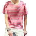 Moda hombres de la camiseta de manga corta de verano casual streetwear clothing negro blanco rojo azul verde de rayas camiseta china tamaño