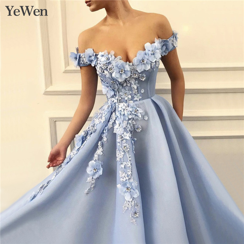 Blue Sexy   Evening     Dress   2019   Evening     Dresses   Long Formal V-neck Special Occasion   Dresses   Lace Appliques Robe De Soiree YW035