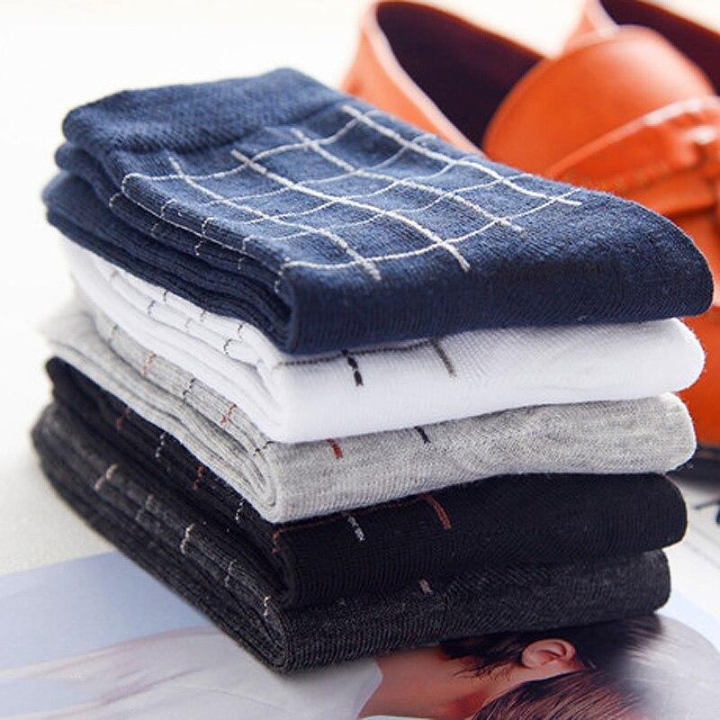 5 Pairs/Lot Cotton Men Socks Brand Prism Plaid Pattern Style Casual Crew Male Socks Set Type 2018