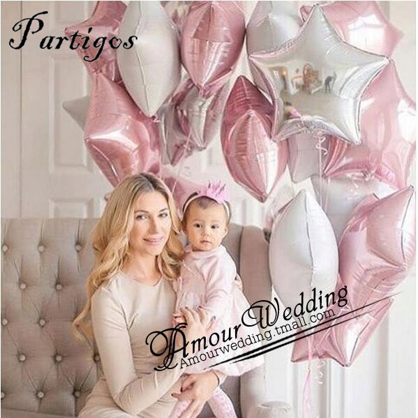 5pcs/lot 18inch pure star foil balloons wedding birthday party decor metallic helium inflatable globos marriage kids gifts ball