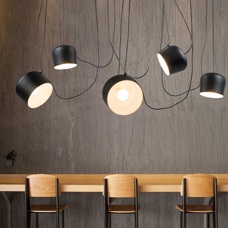 DIY Vintage Retro Black Pendant Lights For Dining Room Aluminum Drum Designer Industrial Hanging Lamp