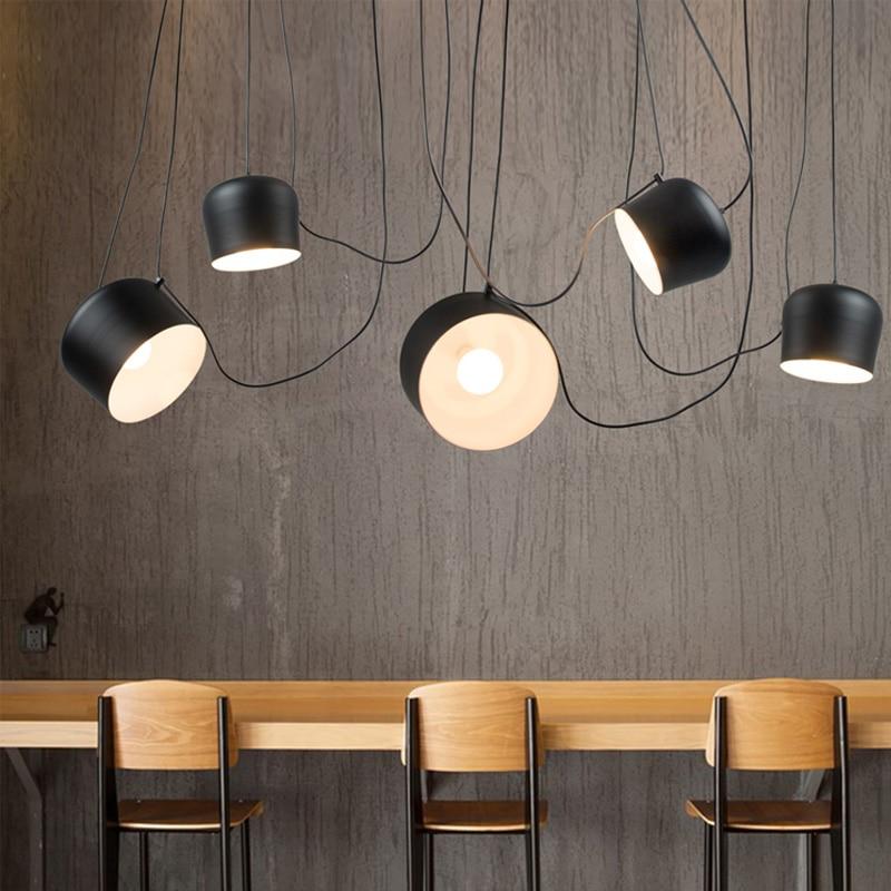 DIY vintage retro negro luces colgantes para comedor de aluminio tambor diseñador industrial lámpara colgante para el café hogar decorar