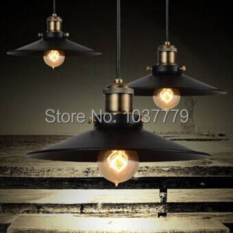 Edison chandelier vintage E27 black finished iron shade industrial pendant lamp