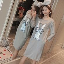 07c7eabf64 EJIAMEIJR Cotton Nightdress Female spring autumn Nightgowns long sleeved  Night Dress
