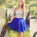 Two-Piece 2016 New Summer Sexy Royal Blue  Mini Short Beaded Chiffon Cocktail Dresses Party Dress robe de cocktail Custom Size