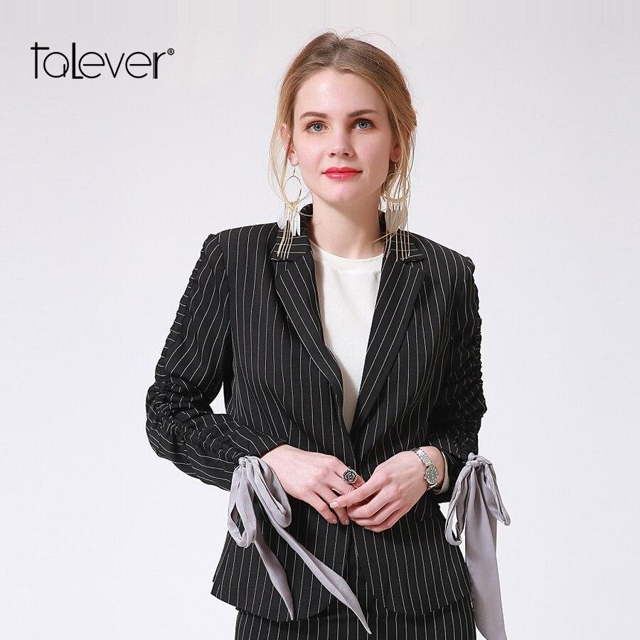Fashion Women Blazers Jackets Short Slim Long Sleeve Bow Black Striped Blazer Plus Size Business Office Lady Coat 2018 Talever
