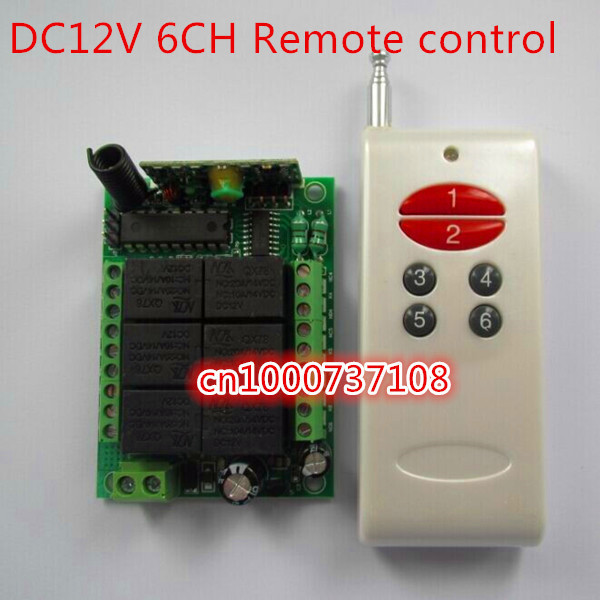 Free Shipping 6CH DC12V 10A fixed code RF Wireless Remote Control System (transmitter+receiver/switch) for Home appliances best price free shipping fixed code rf wireless remote control switch system receiver board