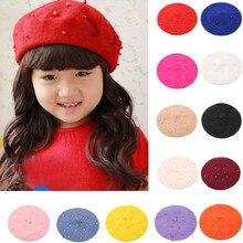 Высококачественные жемчужные головные уборы для девочек, теплый берет, детская шапка, шапка, берет, шапка для девочек, зимняя шапка, праздничная шапка, Прямая поставка