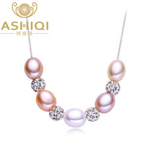 ASHIQI 925 sterling silver Pendant Real Multi Rice Natural freshwater pearl necklace for women jewelry gifts