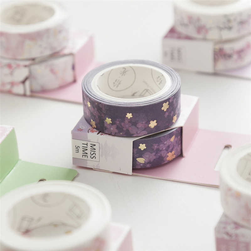 1Pc Japan Style Romantic Washi Tape Wave Crane Sakura Masking Tape Scrapbooking Decorative Sticker School Support(China)