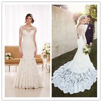 New Fashionable 2019 vintage inspired Lace Wedding dresses Elegant Modest Lace Bridal Gown Long Sleeve Mermaid Wedding Dress