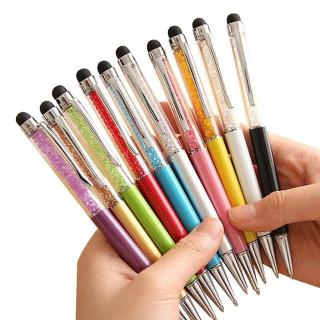 20 cores Cristal Stylus caneta de Toque da Caneta para Escrever Artigos de Papelaria Caneta Esferográfica de Moda Criativa Office & School Caneta Esferográfica Azul