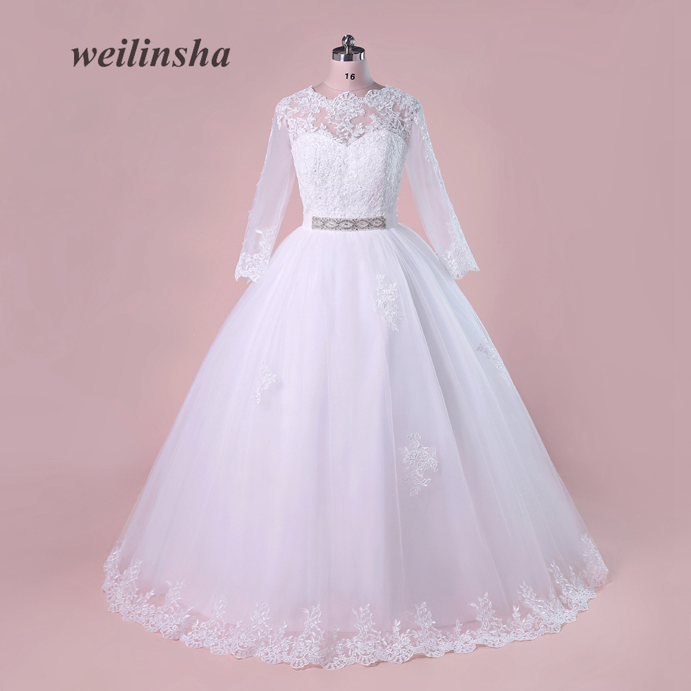 Full Sleeve Wedding Gown: Weilinsha Tulle Ball Gown O Neck Wedding Dress Appliques