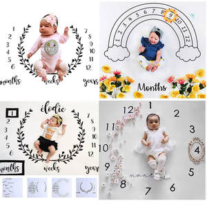 Blanket Calendar Backdrop-Cloth Photo-Accessories Baby Milestone Bebe Infant Girl Boy