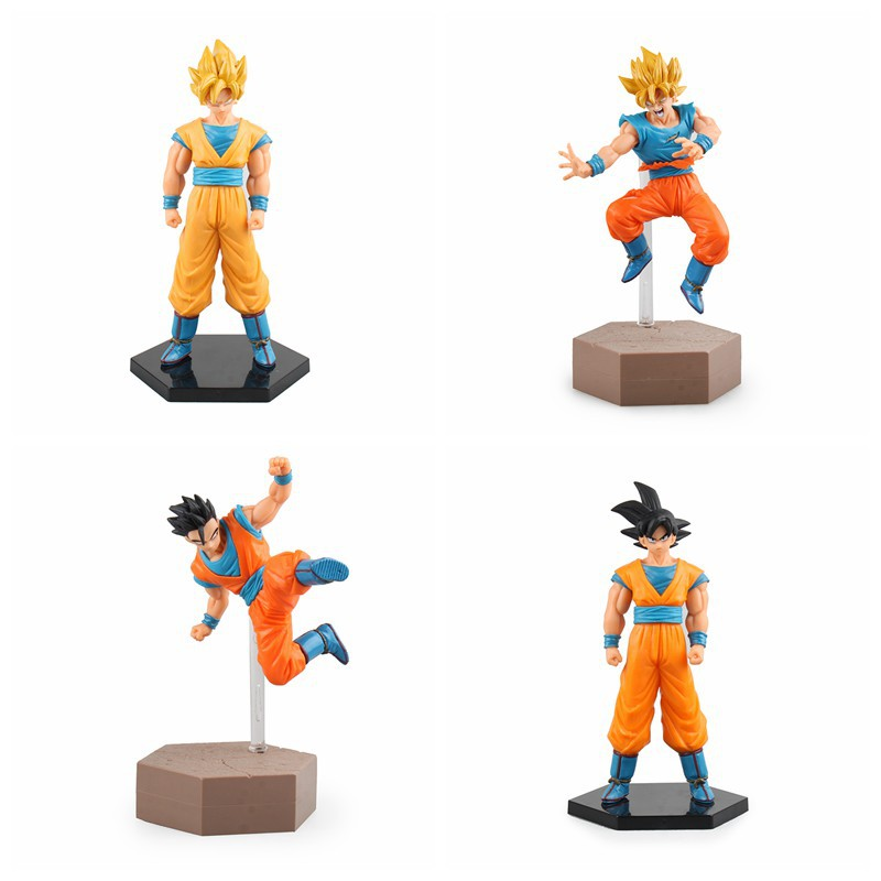 Anime Dragon Ball Z Fighting Super Saiyan & Ver. Son Gohan &Son Gokou PVC Action Figure Collectible Model Toy 17cm~19cm  KT2408 dragon ball z action figures super saiyan son goku grey color anime dbz collectible model toys 350mm dragon ball gt toy