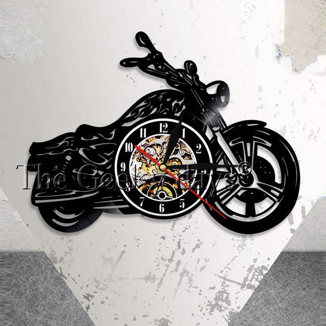 Classic Motorcycle Wall Art Wall Clock Mechanic Motorcycle Car Vinyl ...