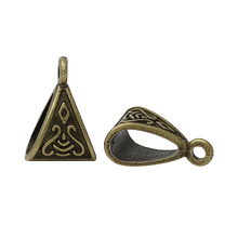 Doreen Box Lovely Bails Beads Triangle Antique Bronze Pattern Carved 15×10.5mm,100PCs (K02440)