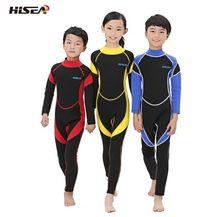 Hisea 2.5ミリメートルネオプレンウェットスーツ子供水着ダイビングスーツ長袖少年少女サーフィン子供ラッシュガードシュノーケル