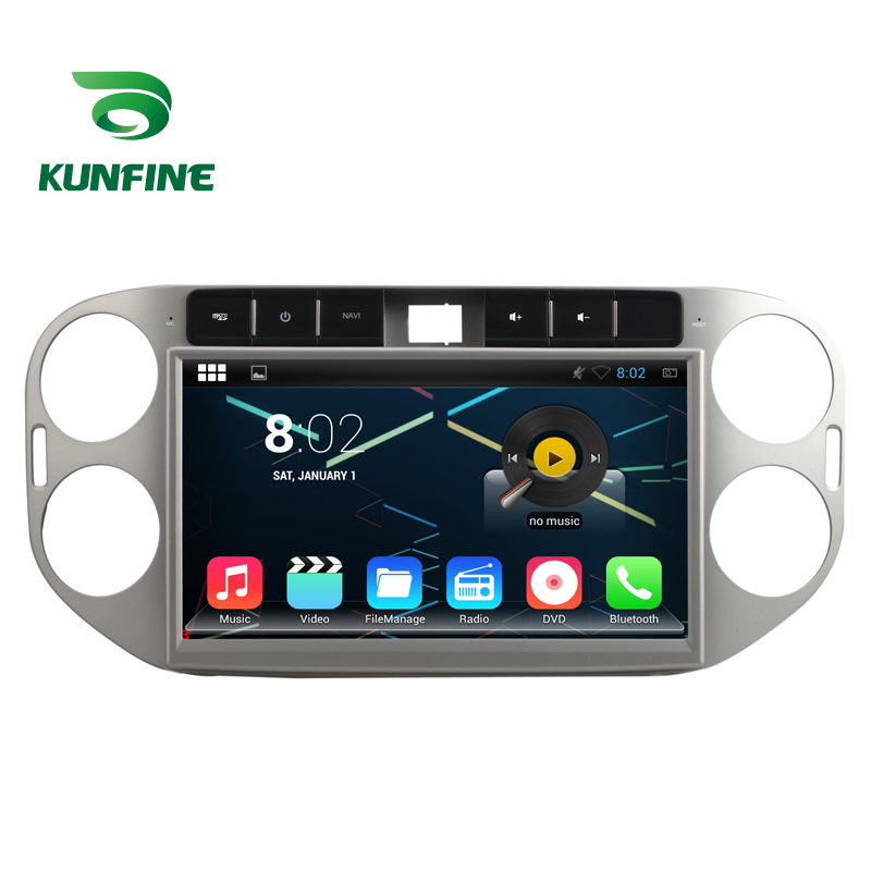 KUNFINE Android 7.1 Quad Core 2GB Car DVD GPS Navigation Player Car Stereo Deckless for VW Tiguan 2013-14 Silver Radio Bluetooth