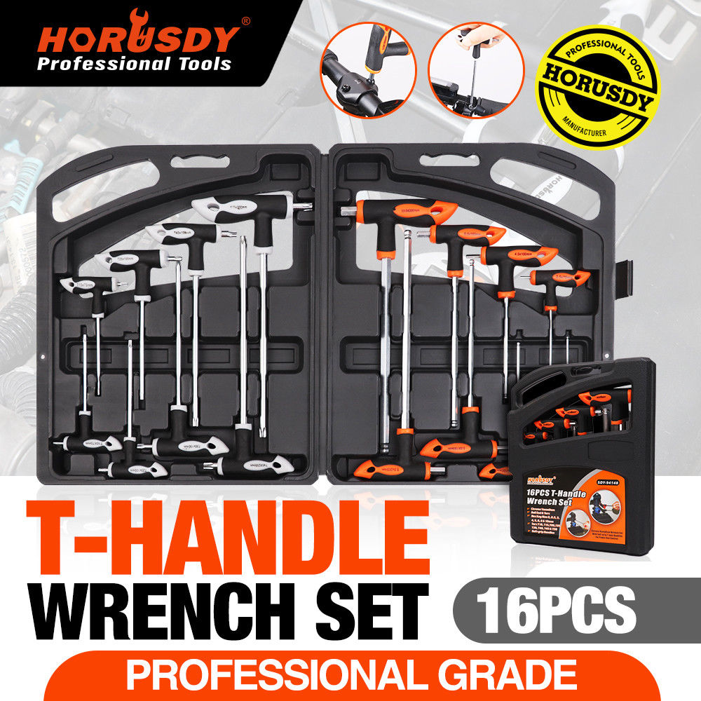 HORUSDY 16Pcs <font><b>T</b></font> Handle Set <font><b>Torx</b></font> Wrench Set Ball End Wrench Allen Wrench Hex Key Ball Universal Key Set Wrench Auto Repair Tools image