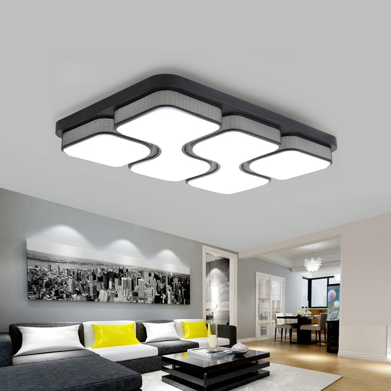 цена Modern LED Black Ceiling Lights For Living Room Kitchen Fixtures Lamp With Acrylic Lampshade Space Indoor Home Bedroom Lighting
