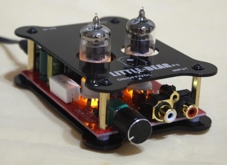 Avec alimentation noir 6J1 HiFi stéréo tube valve préamplificateur préamplificateur amplificateur