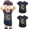 2016 Crianças de Verão Do Bebê Meninas de Ouro Letra T Criança Da Menina do Algodão T-shirt de Manga Curta Encabeça Roupas 2-7A