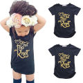 2016 Summer Kids Baby Girls Gold Letter Tee Toddler Girl Cotton Short Sleeve T-shirt Tops Clothes 2-7Y