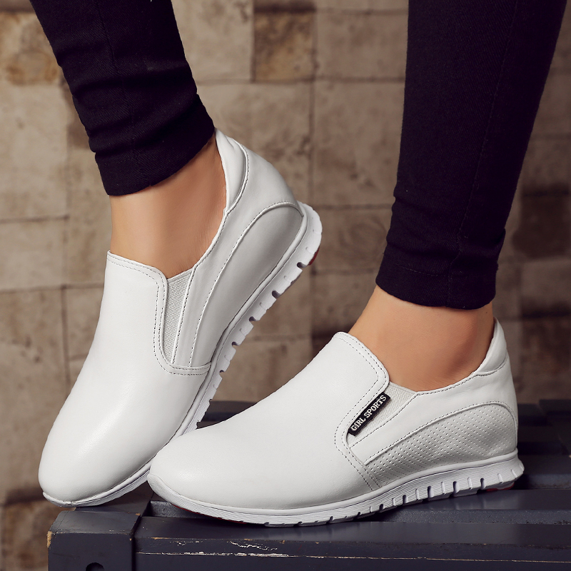 ФОТО Woman shoes, increased within white Carrefour shoes casual genuine leather shoes 2017women's singles student shoes free shipping