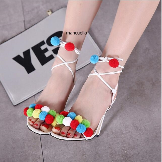 ФОТО Pretty Design Colorful Flower Pompom Decoration Stiletto Heels Dress Shoes Women Cute Pompom Ankle Wrap Lace Up Sandals Hot Sell