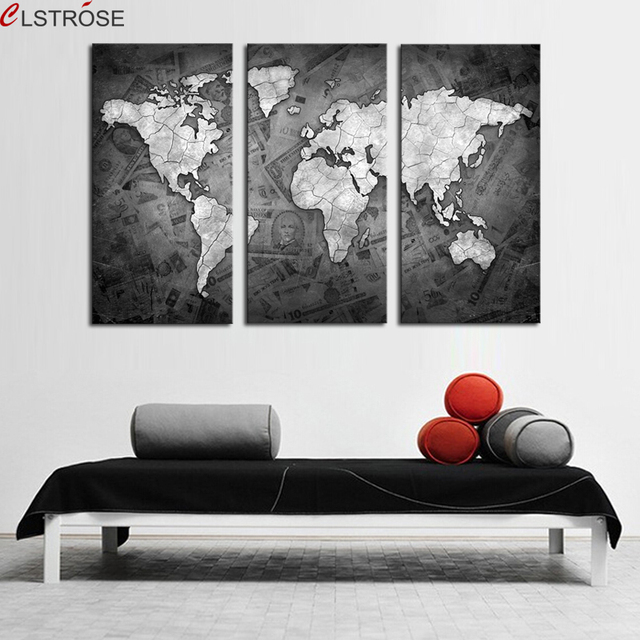 Clstrose limited frameless 3 pcs wall art grey color modern world clstrose limited frameless 3 pcs wall art grey color modern world map canvas painting artwork picture gumiabroncs Choice Image