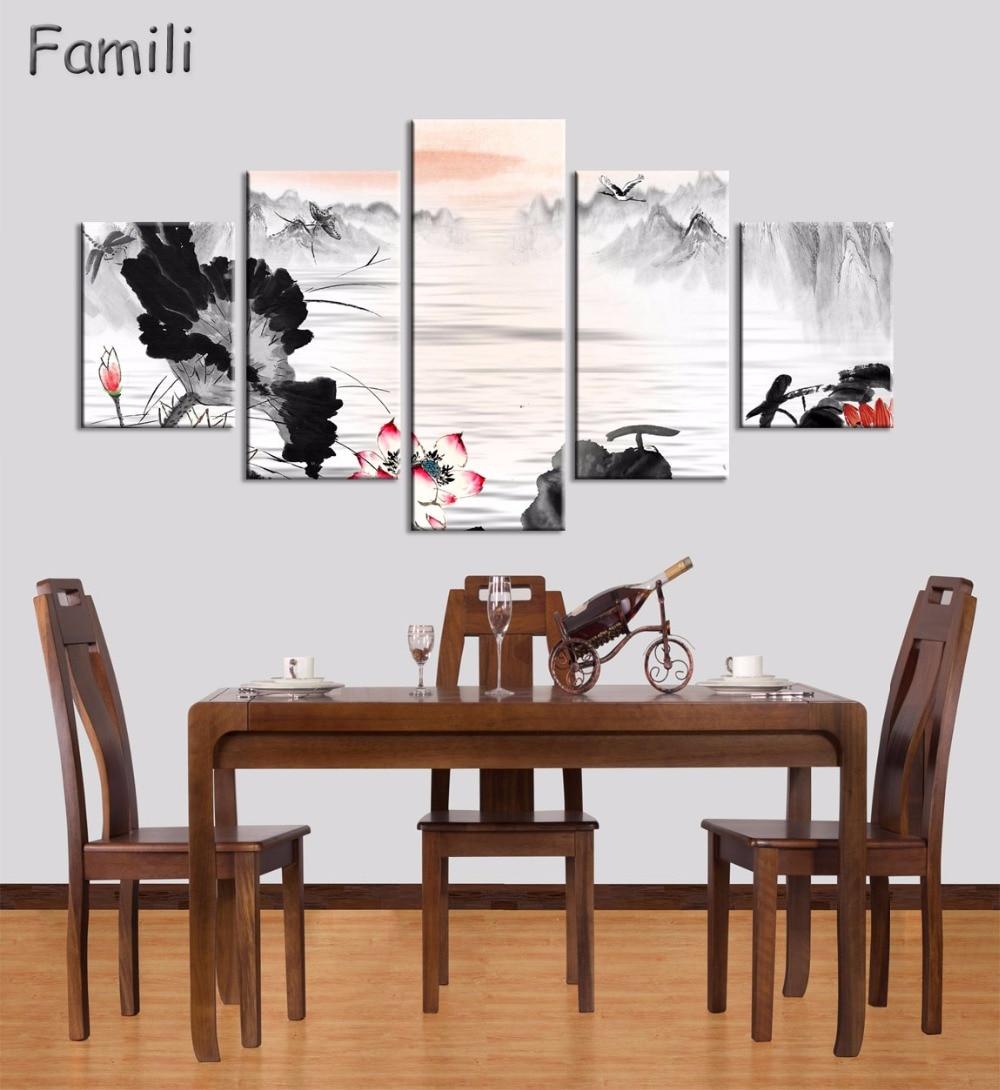 5 Panel Ancient Chinese Brush Painting Print Canvas Lotus pond Koi ...