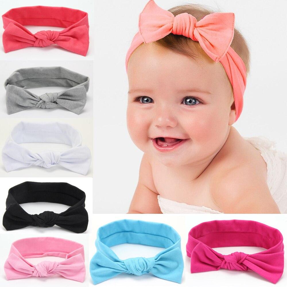 Solid Dots Pattern Headbands Cute Newborn Bow Knots Rabbit Ears Elastic Wave Point Headbands Bands Accesorios Para El Pelo 2018 Bright In Colour Accessories